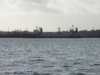 NAGATO REEFER Outbound Southampton passing SAPPHIRE EXPRESS Fawley  10-12-2014 12-50-47